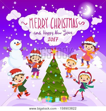 Merry Christmas And Happy New Year. 2017. Winter Fun. Cheerful Kids Playing In The Snow. Stock Vecto