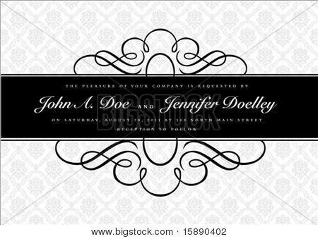 Vector ornate narrow frame with sample text and borders. Perfect as invitation or announcement. All pieces are separate. Easy to change colors and edit.