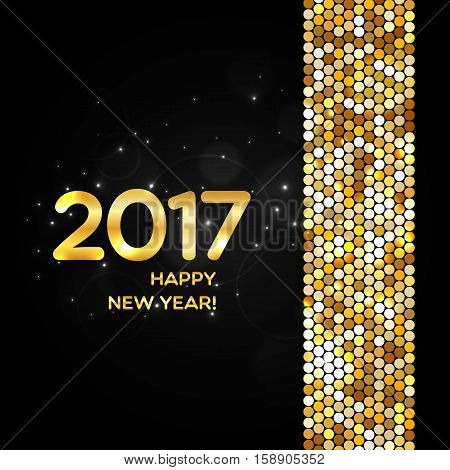 Happy New Year 2017 Golden Shimmer Background