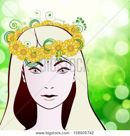 Beautiful woman's face in a wreath of flowers.