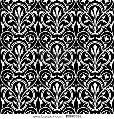Vector floral pattern. Perfect for invitations and ornate backgrounds.  Pattern is included as seamless swatch.