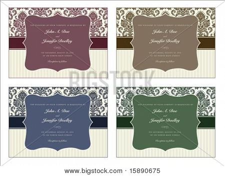 Vector damask frame set with sample text. Perfect for invitations and ornate backgrounds.