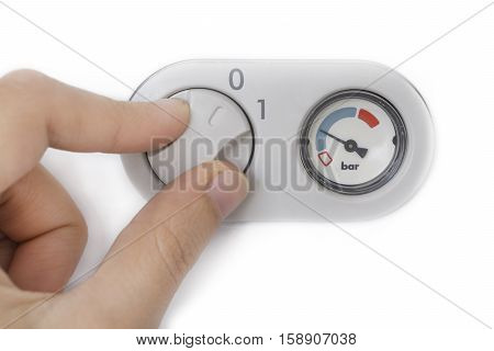 Hand Operating Central Heating Pressure Bar Isolated On White Background