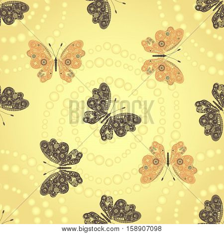 Seamless golden pattern with brown and beige butterflies and dots spirals vector