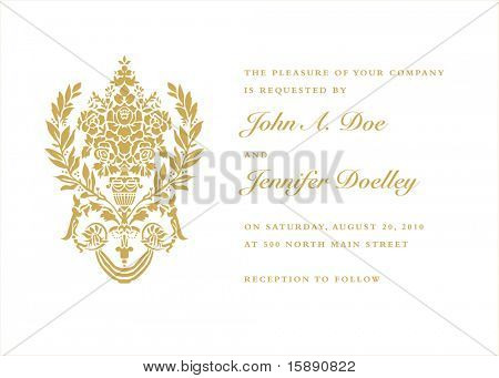 Vector ornate gold background. Easy to edit. Perfect for invitations or announcements.