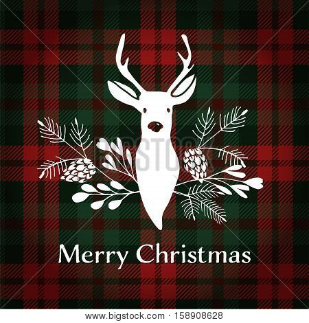 Merry Christmas greeting card invitation. Reindeer with Christmas bouquet floral decoration. Tartan checkered plaid vector illustration background.