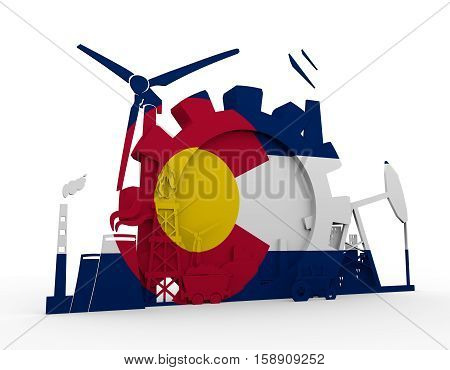 Energy and Power icons set with Colorado flag. Sustainable energy generation and heavy industry. 3D rendering.