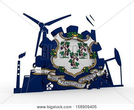 Energy and Power icons set with Connecticut flag. Sustainable energy generation and heavy industry. 3D rendering.