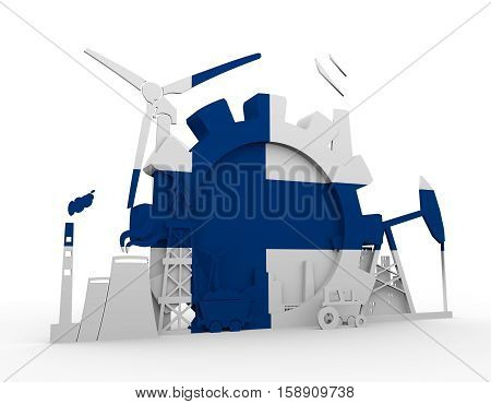 Energy and Power icons set with Finland flag. Sustainable energy generation and heavy industry. 3D rendering.