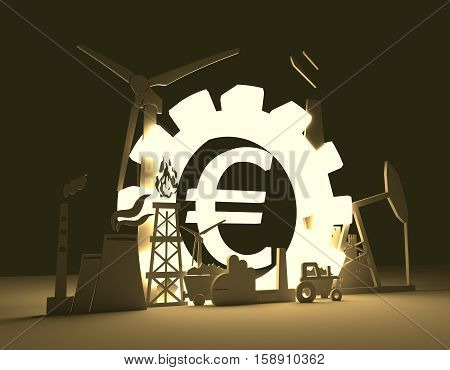 Energy and Power icons set on blueprint backdrop. Sustainable energy generation and heavy industry. 3D rendering. Luminous Euro money sign