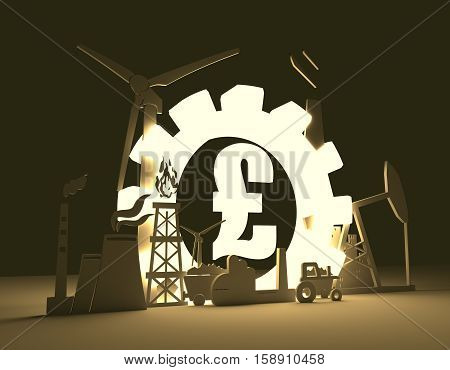Energy and Power icons set on blueprint backdrop. Sustainable energy generation and heavy industry. 3D rendering. Luminous Pound sign