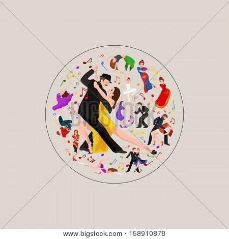 Group of dancing people, yong happy man and woman dance together and in couple, girl sport dancer, happy boy, dance background vector illustration pictogram isolated