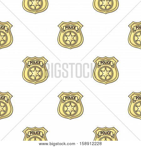 Police officer badge icon in pattern style isolated on white background. Crime symbol vector illustration.