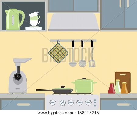Fragment of an interior of kitchen in yellow color. There is a green pan and frying pan on the stove, also meat grinder, a kettle and other objects in the picture. Vector flat illustration