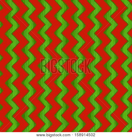 Retro wrapping. Seamless pattern of zigzag parallel lines. Vector illustration in ink hand drawn style. Red and green traditional Christmas colors.