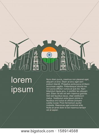 Energy and Power icons set with India flag. Sustainable energy generation and heavy industry. Vector illustration. Modern vector brochure, report or cover design template.