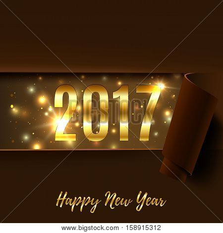 Happy New Year 2017 greeting card. Brown background with rolled paper. Template for brochure, banner, poster or flyer. Vector illustration.