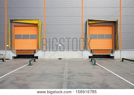 Two Cargo Doors at Warehouse Loading Bay