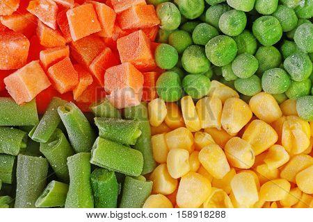 Frozen vegetable mix background
