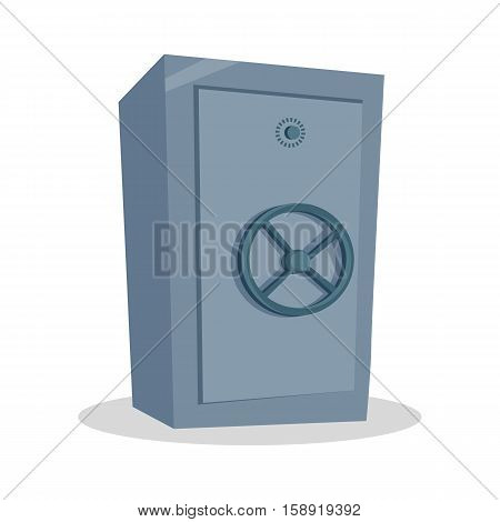 Security cash savings concept. Flat design. Protect your money idea visualization. Icon for banking, security services, safe shops. Big steel safe illustration. On white background.