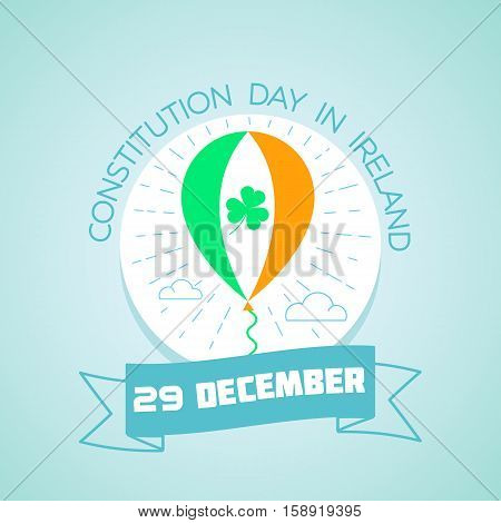 Calendar for each day on December 29. Greeting card. Holiday - Constitution Day in Ireland. Icon in the linear style