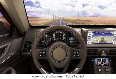 Front View Dashboard Of Modern Brand New Car With Road In The Windows 3D Illustration