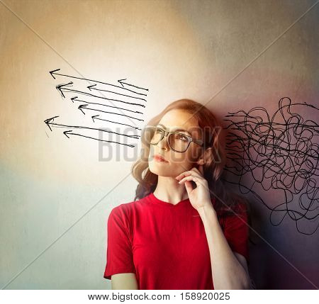Girl organising her thoughts
