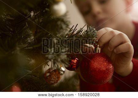 Boy decorating the Christmas tree