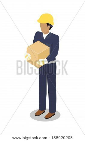 Cargo Handler in yellow helmet with container isolated. Dock worker responsible for loading, unloading, sort and handle freight on trailers in safe and timely manner. Delivery service man icon. Vector