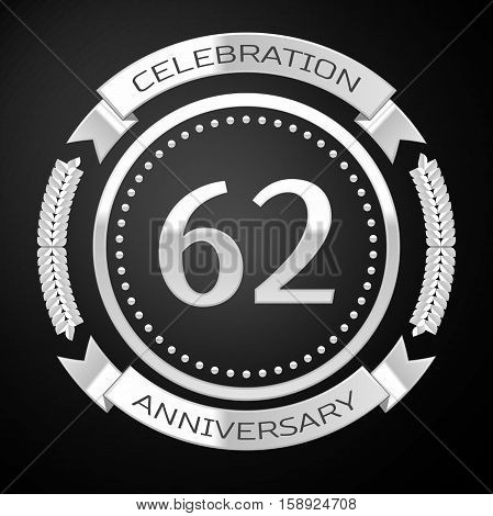Sixty two years anniversary celebration with silver ring and ribbon on black background. Vector illustration