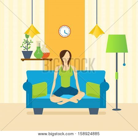 Girl in the lotus position on the couch, engaged in yoga, in a quiet, cozy, home environment, and restores strength and emotional balance. Healthy lifestyle. Vector illustration.