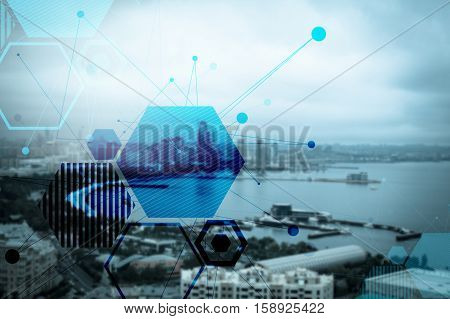Abstract particle structure on the beautiful city and seafront background