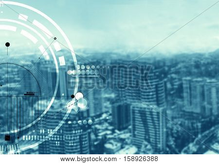 Abstract particle structure on the beautiful modern city background