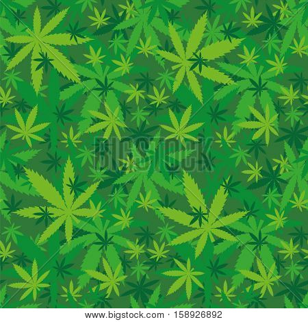 Marihuana leaves seamless pattern in shades of green vector illustration