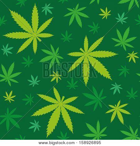 Green marijuana leaves seamless background pattern vector illustration