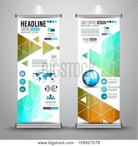 Advertisement roll up business flyer or brochure banner with vertical design. Vector template for cover presentation with geometrical shape background. Ideal for modern x-banner and flag-banner.