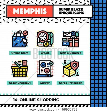 Online Shopping Neo Memphis Icons.