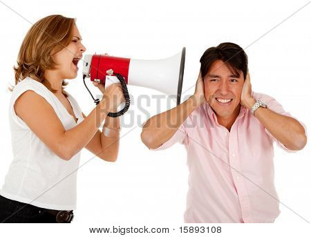 Woman screaming on a megaphone to a man - isolated over white