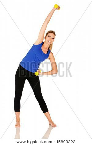 Woman exercising with free-weights isolated over a white background