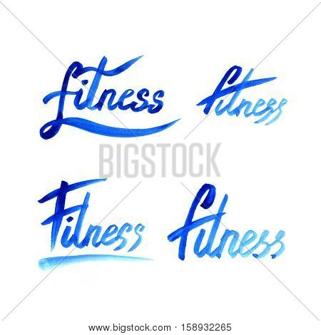 Watercolor fitness logo illustration with hand written calligraphy lettering inscription fitness. Isolated on white.