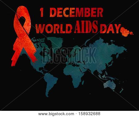1st December World Aids Day concept with text world map and red ribbon of aids awareness. Watercolor illustration.