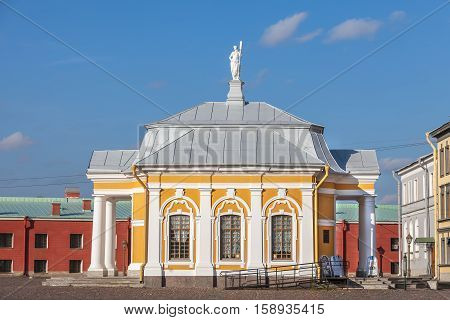 SAINT PETERSBURG, RUSSIA - OCTOBER 24, 2016: Botnia house - the building for the boat of Peter I in Peter and Paul Fortress