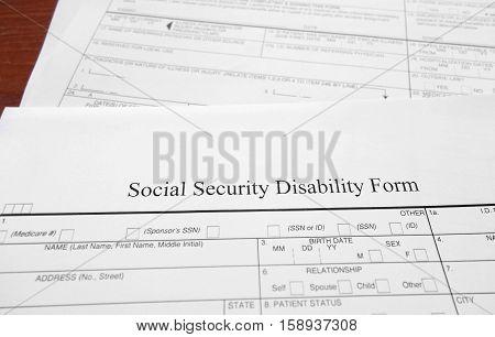 Closeup of a Social Security disability form