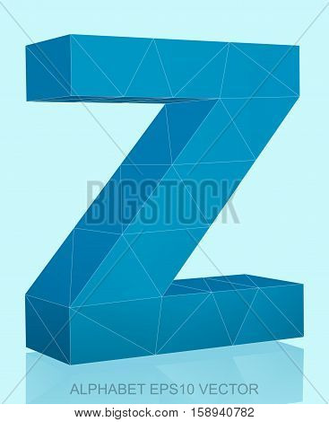 Abstract Blue 3D polygonal lowercase letter Z with reflection. Low poly alphabet collection. EPS 10 vector illustration.