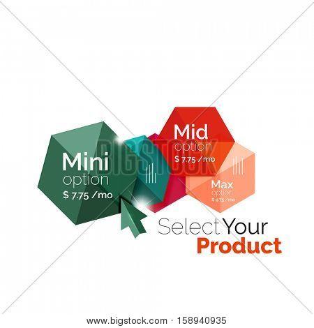 Option select template. Vector background for business brochure or flyer, presentation and web design navigation layout