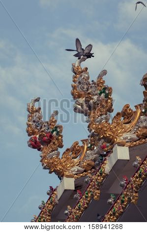 Beautiful Gold Naka statues in temple thailand Vintage effect