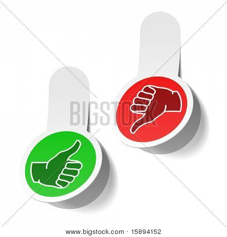 Thumb up and thumb down signs. Vector.