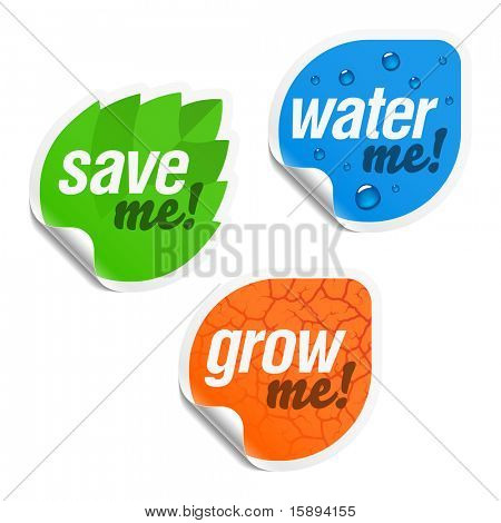 Save me, water me and grow me stickers. Vector.