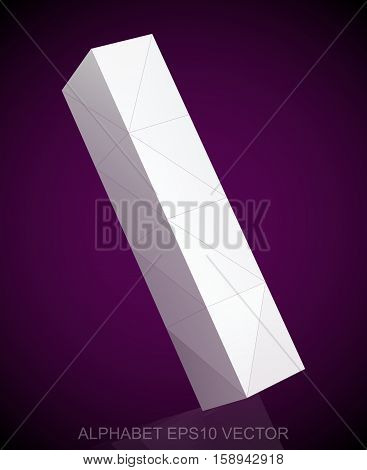 Abstract White 3D polygonal lowercase letter L with reflection. Low poly alphabet collection. EPS 10 vector illustration.