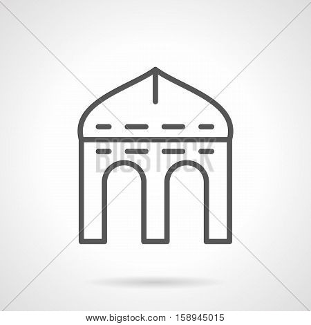 Asian pergola with arched doorways. Architectural decoration elements. Building facades, entrance. Single black simple line style design vector icon.